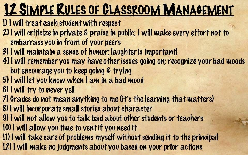 12 Simple Rules Of Classroom Management Classroom Management