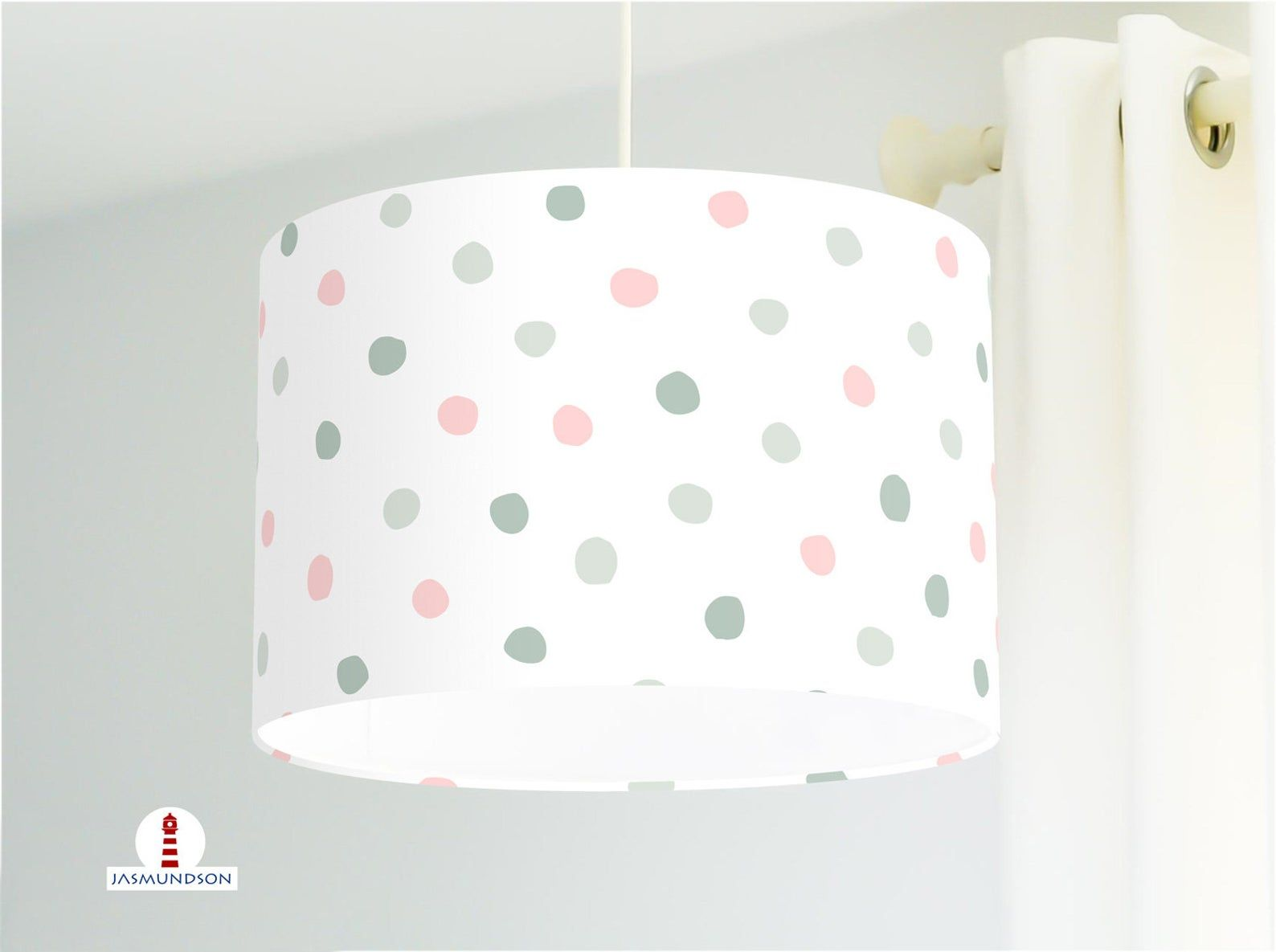 Lampe Kinderzimmer Punkte In Mint Und Rosa Aus Baumwolle Alle Farben Moglich In 2020 Lamp Shade Decor Lamp
