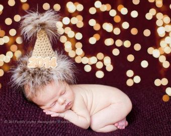 Crochet Newborn New Year S Party Hat Photography Prop Newborn Pictures Girl Baby New Year Newborn Baby Photography