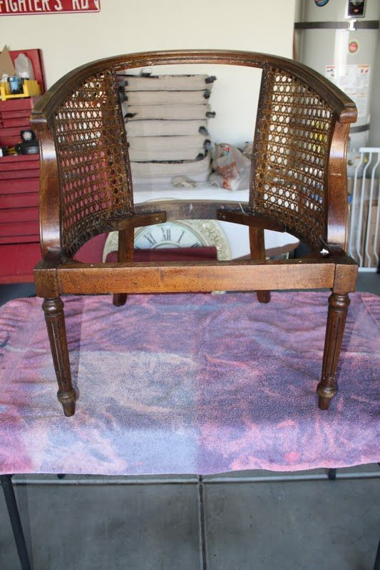 Living savvy how to reupholster a cane barrel chair - How to reupholster a living room chair ...