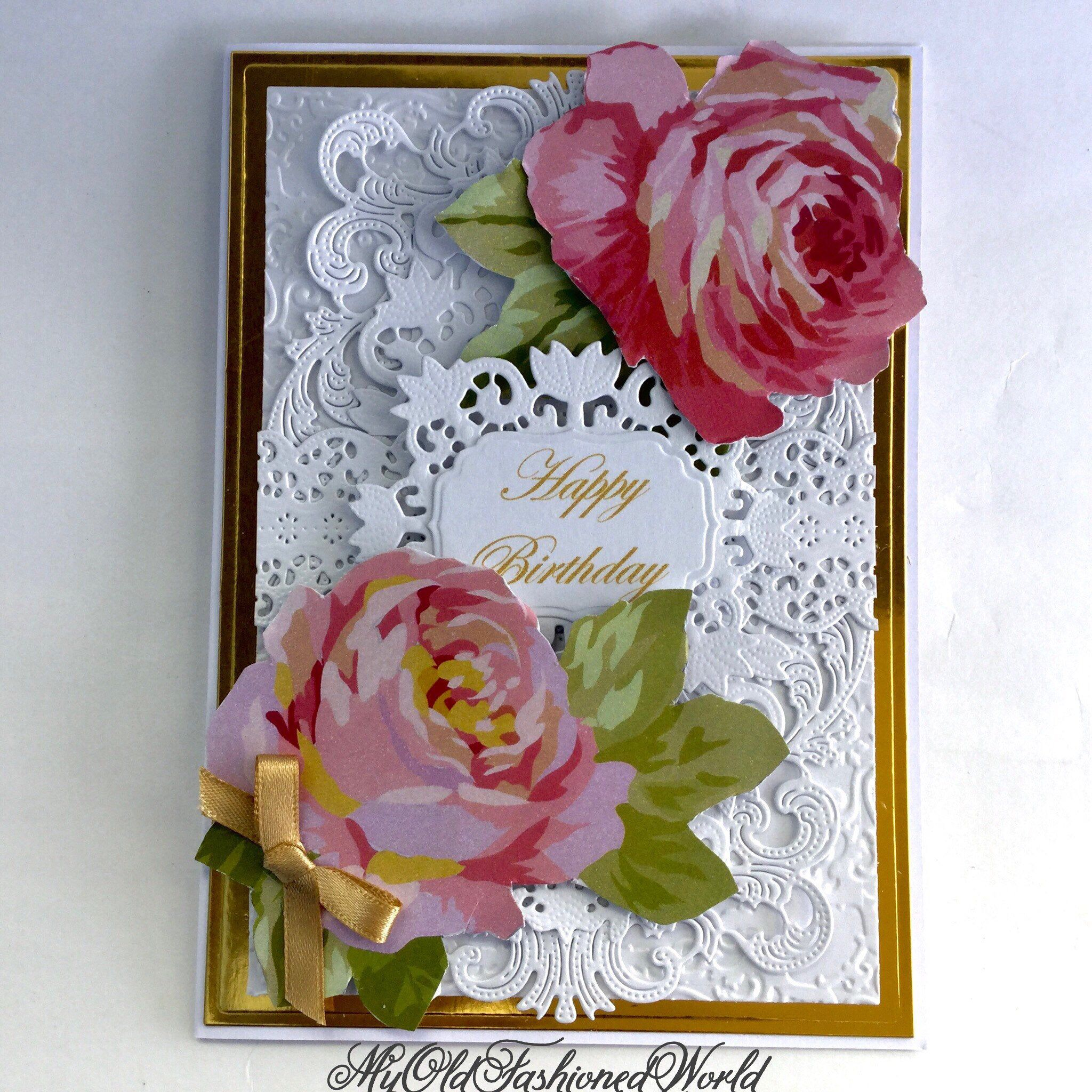 Romantic old fashioned vintage style birthday card for a