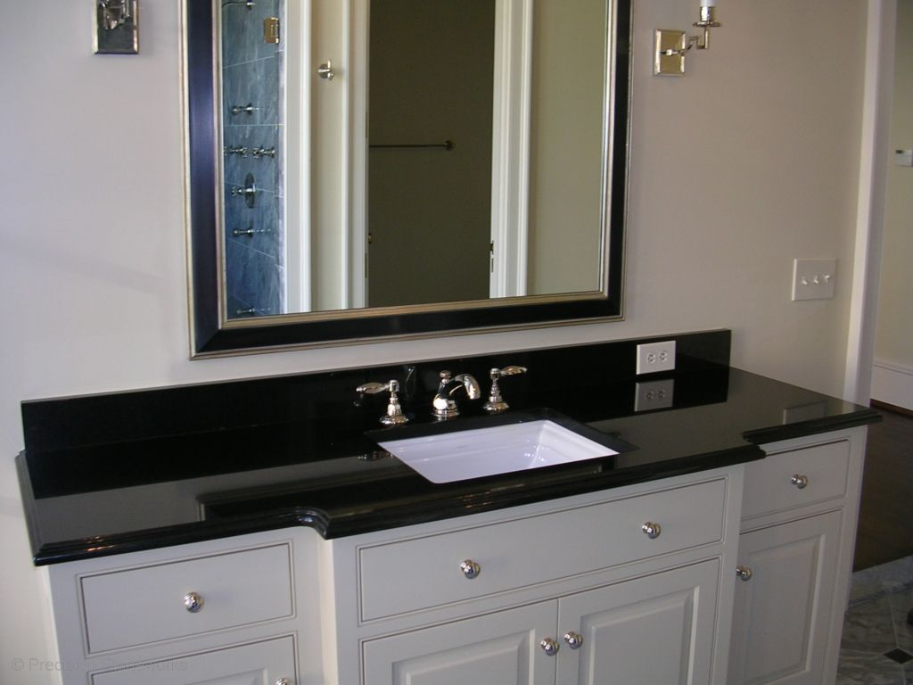 Granite Bathroom Vanity In Absolute Black with Polished Finish and