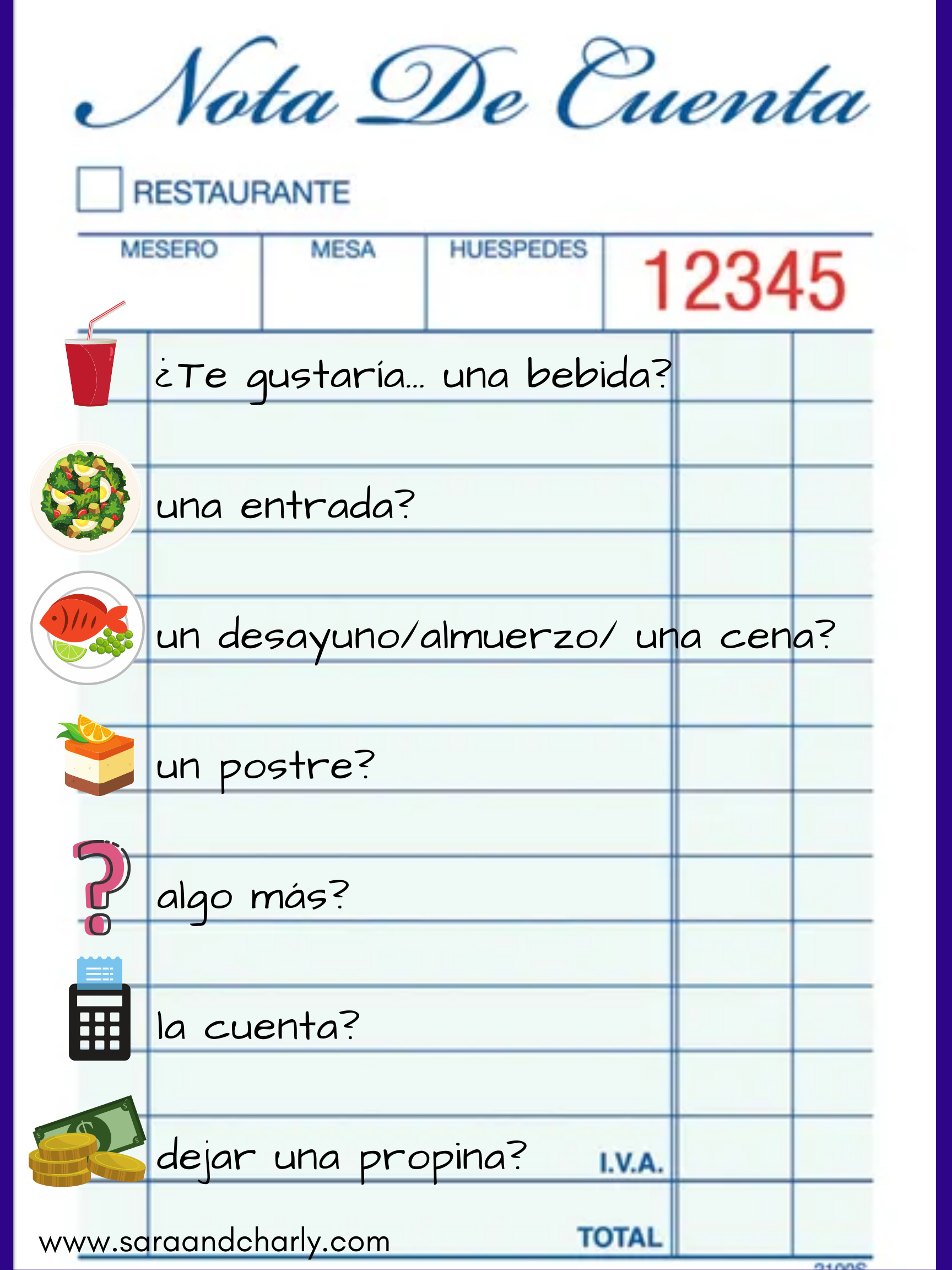 Ordering Food In Spanish Worksheet