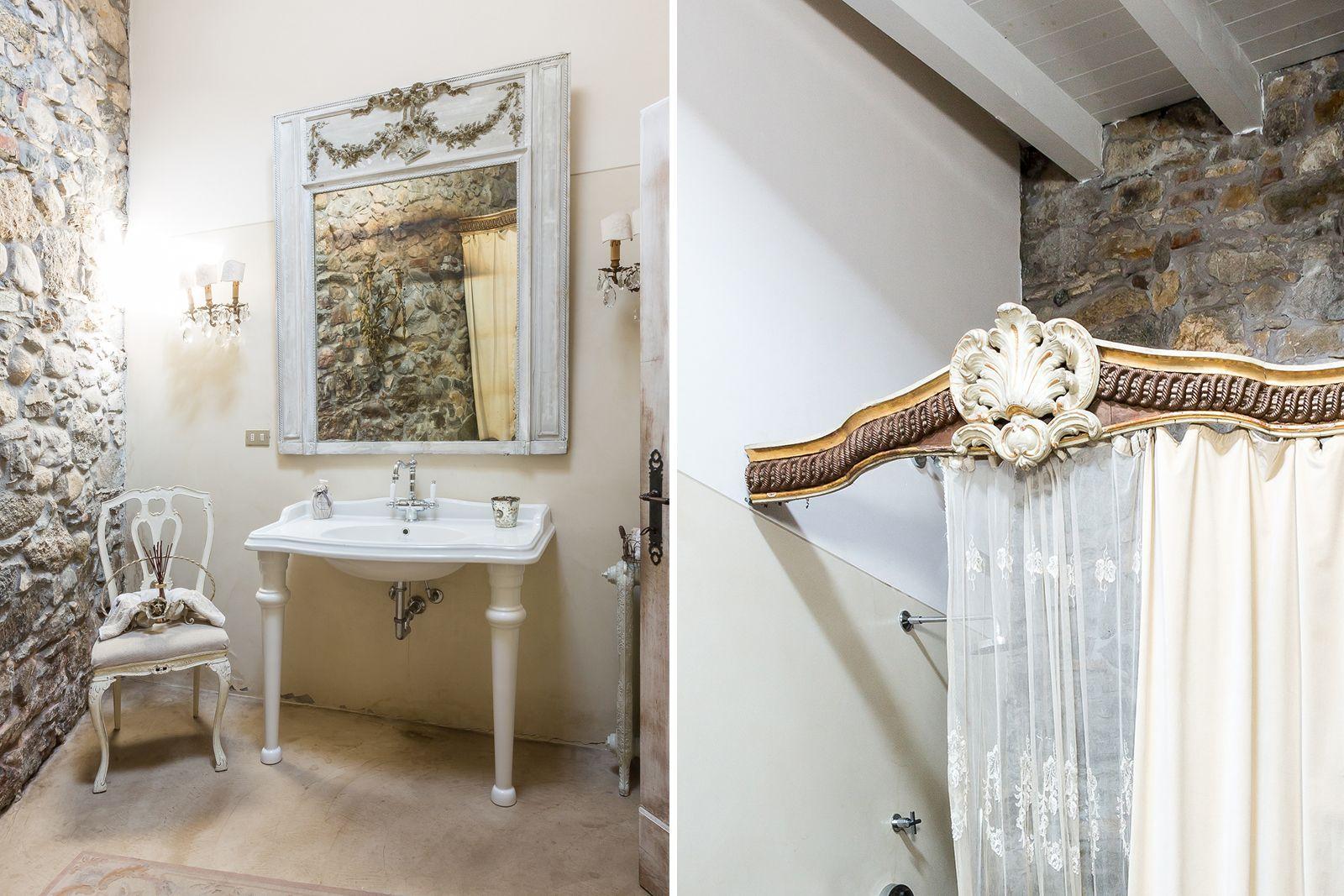 Villa respiro casa shabby chic brianza bagno in pietra palazzo