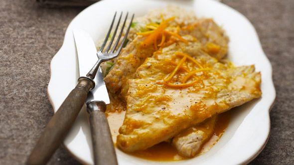 Kalbsschnitzel mit Orangensauce