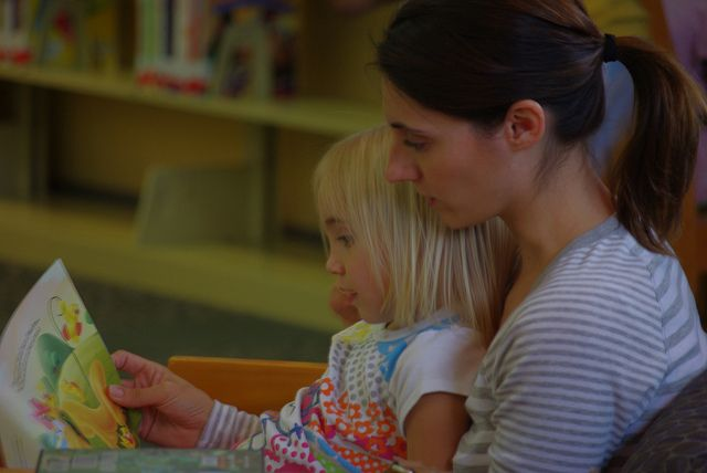 Sharing a story at the Fairfield Civic Center Library
