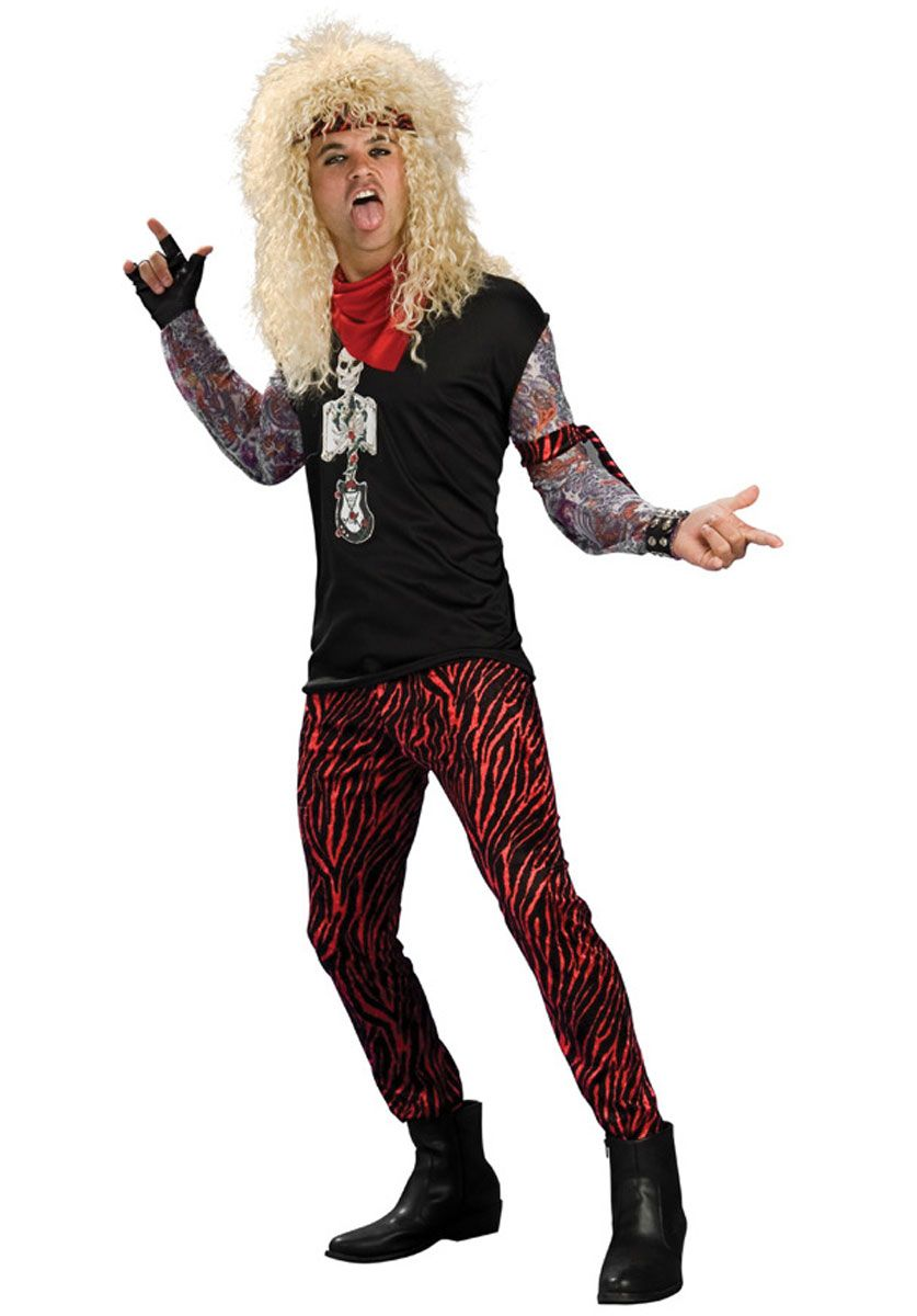 Brand New 1980s Rock n Roll Hair Band Dude Adult Costume