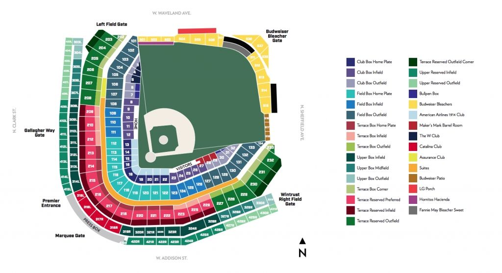 Wrigley Field Seating Chart With Rows Di 2020