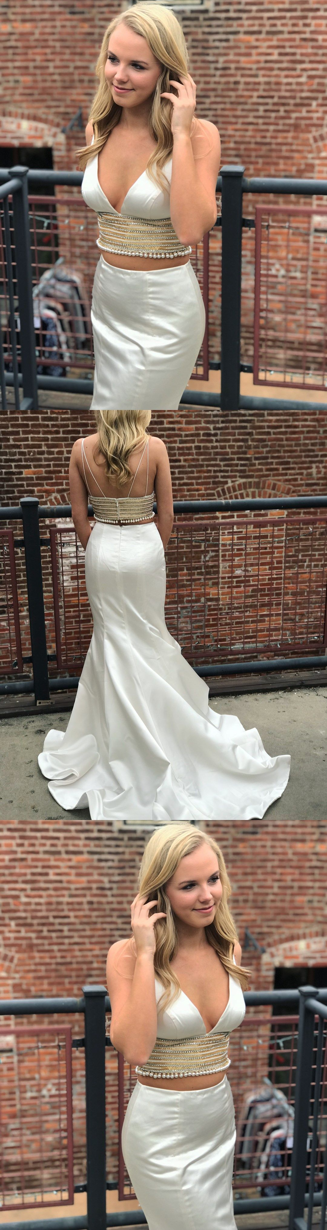 Special two piece white mermaid long evening dress beautiful prom