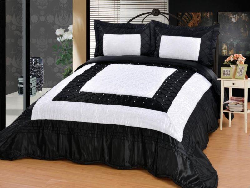 Tagesdecke Zümrüt schwarz weiß 3TlgDiese Aufwändig bestickte - schlafzimmer schwarz wei