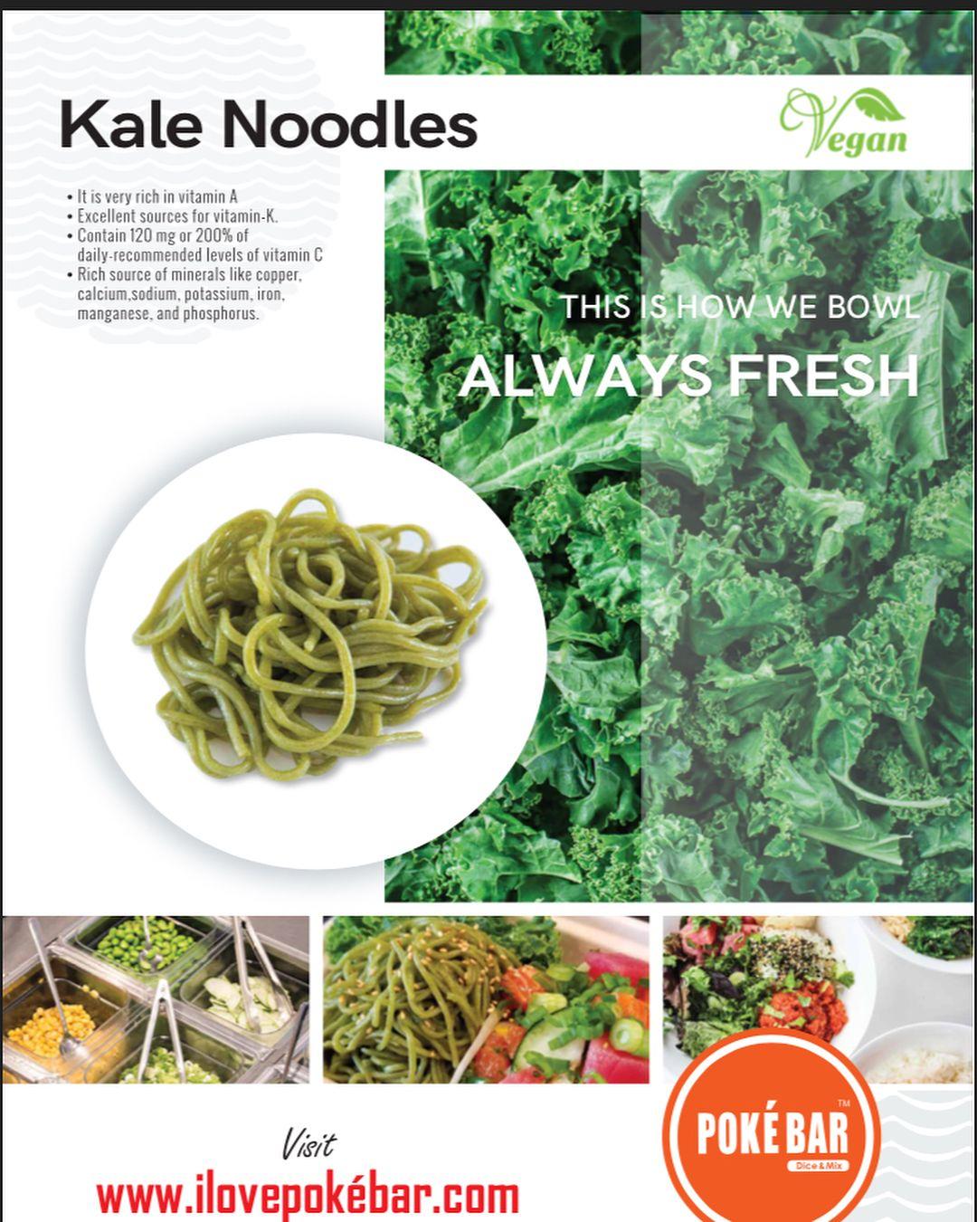 Poke Bar On Instagram Our Vegan Friendly Kale Noodles Are Rich