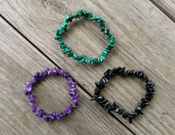 Chip stone bracelets. Amethyst, malachite, and obsidian.  https://www.etsy.com/listing/515681625/chip-stone-gemstone-stretch-bracelets