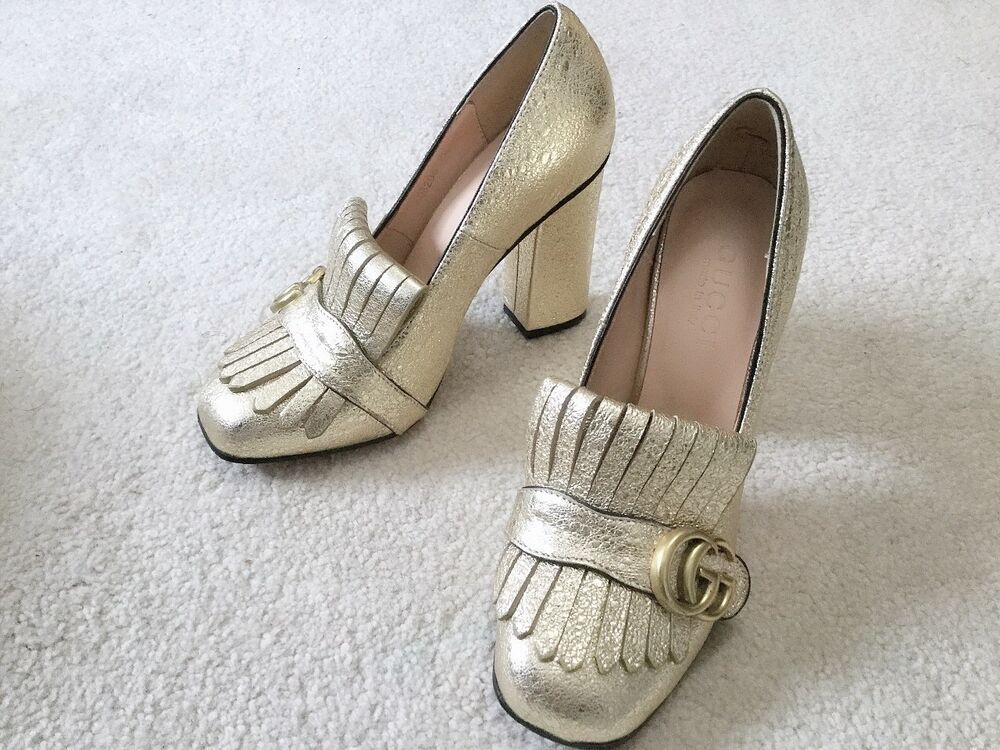 d342ea7f7688 Gucci Current Marmont GG Metallic Leather Pumps size 37 US size 6 or 6.5   fashion  clothing  shoes  accessories  womensshoes  heels (ebay link)