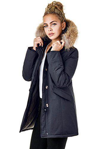 Mayaadi Damen Jacke Parka Mantel Winter Kunstfell Blogger