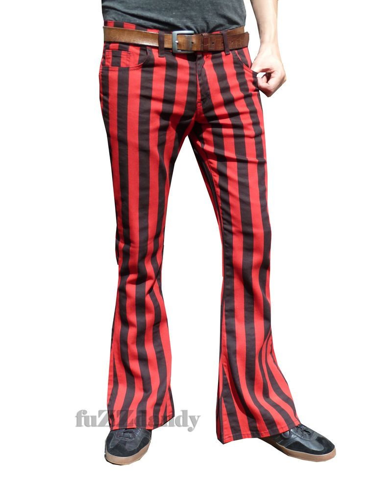 Flares Red Black Striped Stripe Men Bell Bottoms Hippie Vtg Indie Pants  60 s  RunFlyUK  FlatFront 06a8372dc93ea