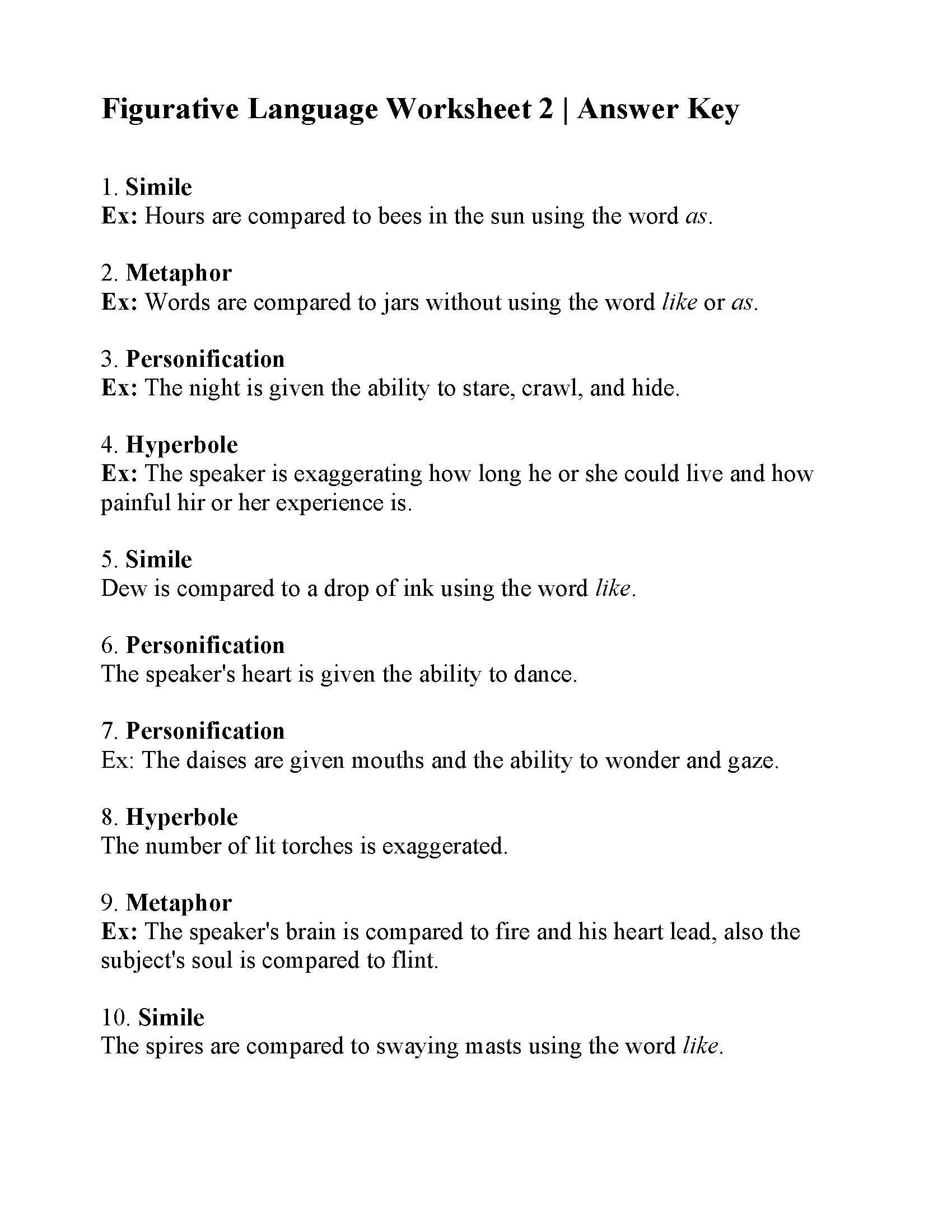This Is The Answer Key For The Figurative Language Worksheet 2 Figurative Language Worksheet Language Worksheets Figurative Language