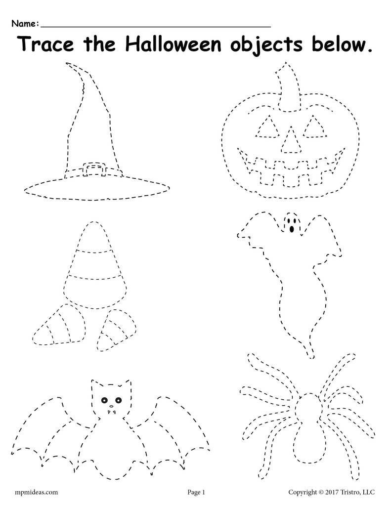 Printable Halloween Tracing Worksheet Halloween Worksheets