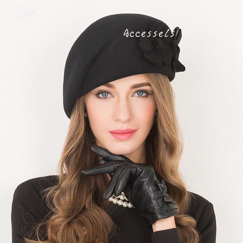 a465be4d18f8ac New Women's Vintage Elegant Wedding Formal Dress 100% Wool Winter Hat Black