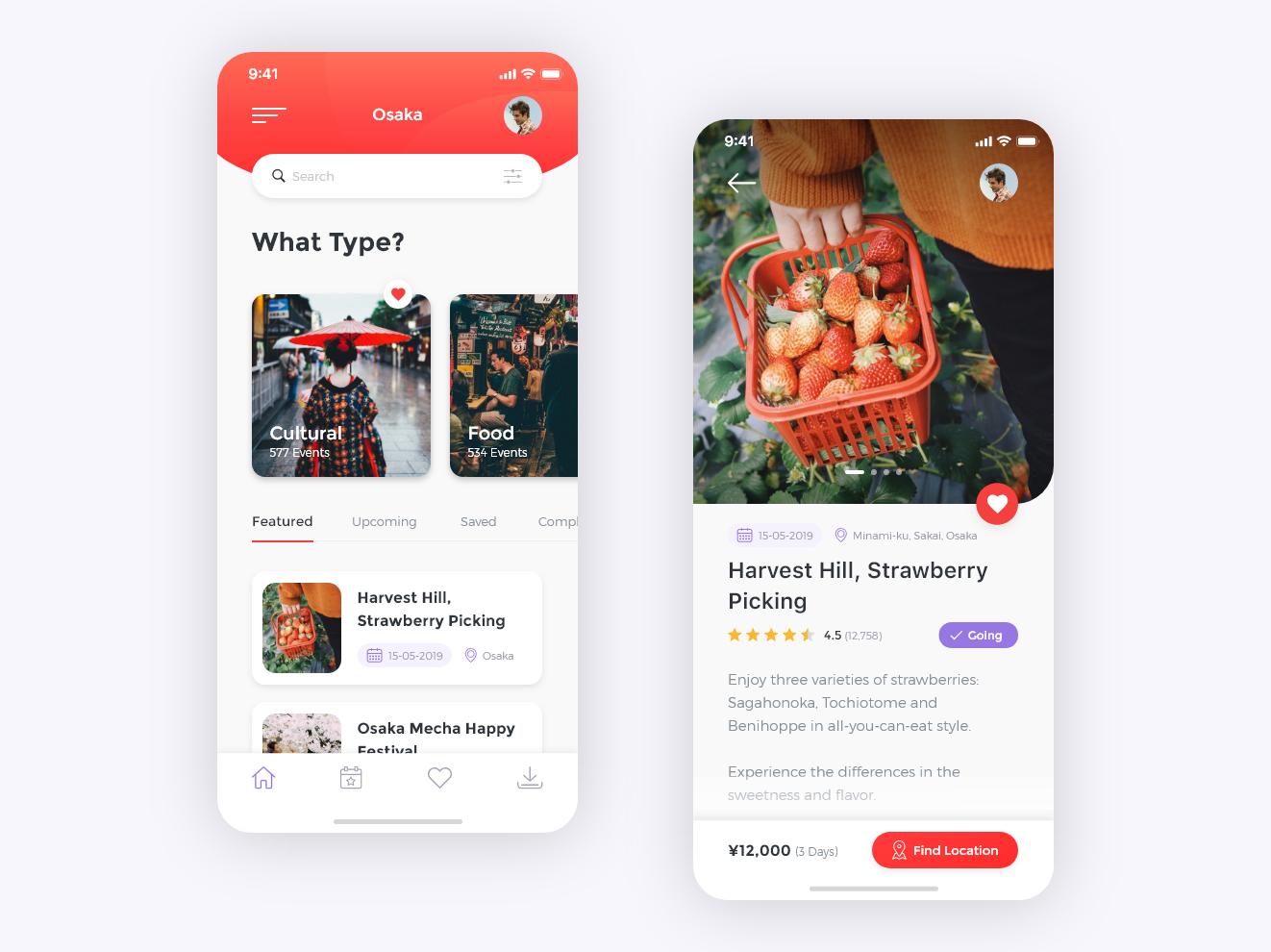 Japan Events App Event app, App design, App