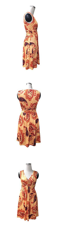 Charm Your Prince Women's Sleeveless Summer Orange Paisley Sundress XL