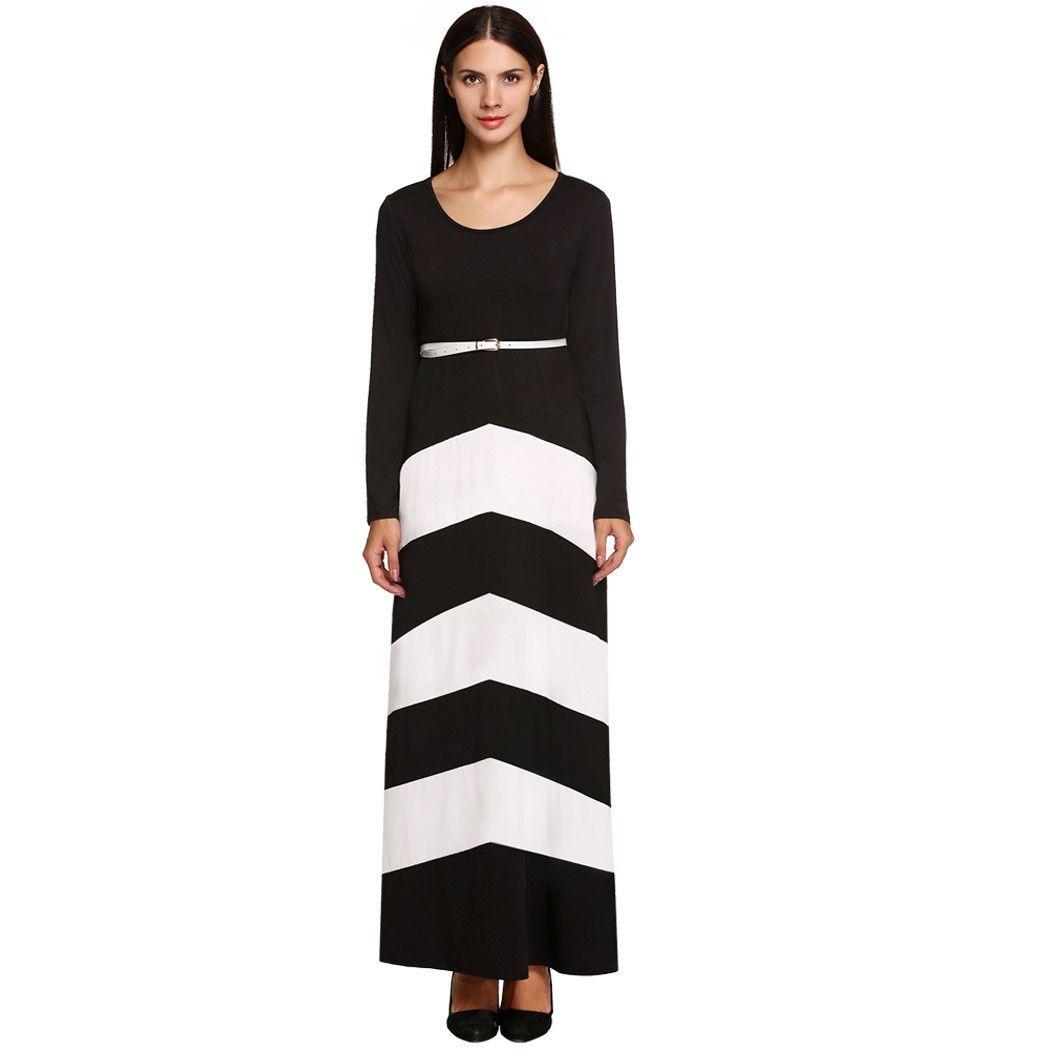 Elegant Stylish Ladies Women Long Sleeve High Waist Stripe ...