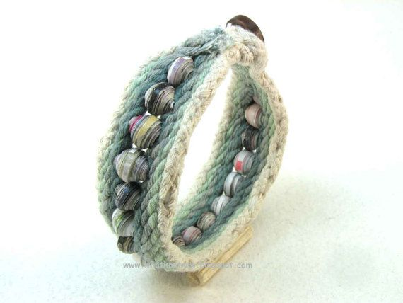 one button toggle cuff bracelet hand dyed cord by WhatKnotShop, $29.00