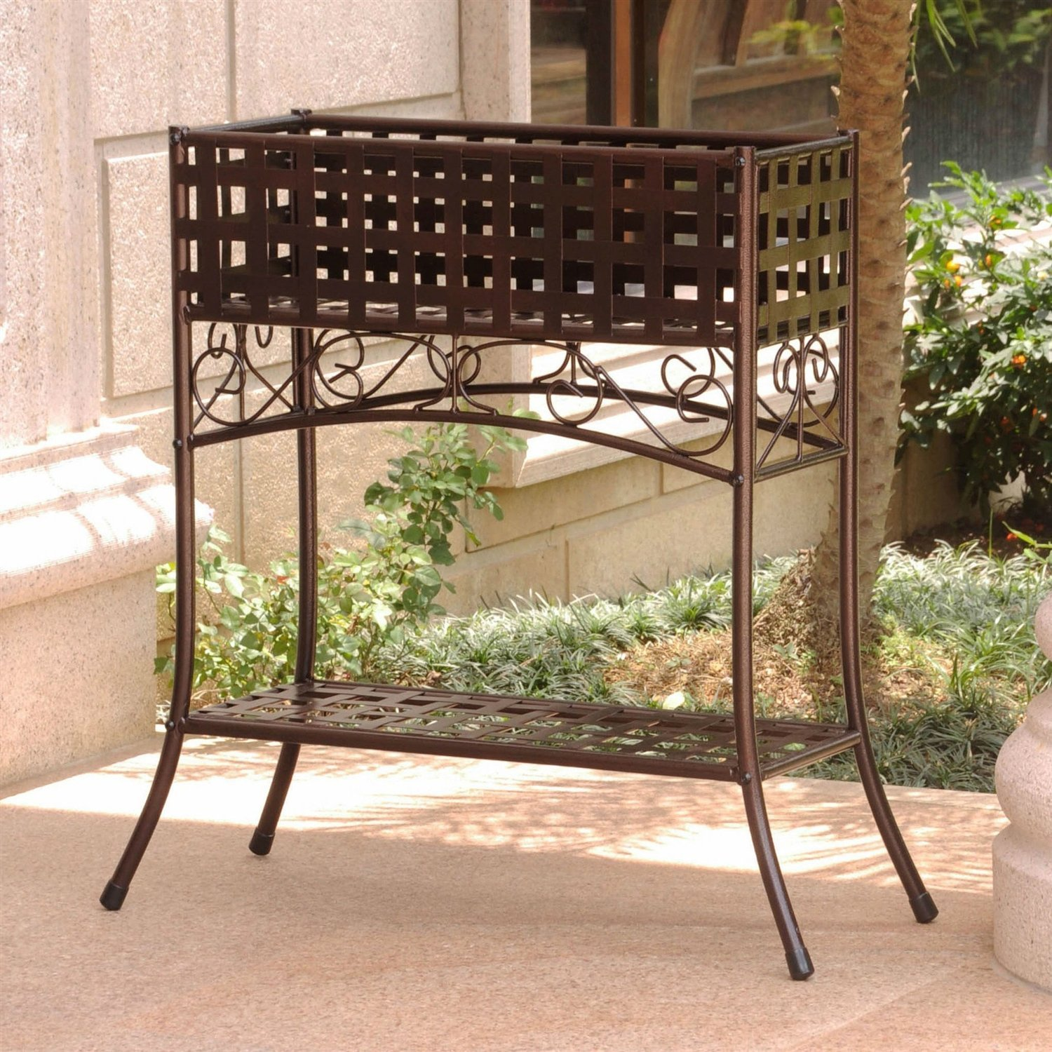 Elevated Wrought Iron Metal Plant Planter Stand In Bronze Plant
