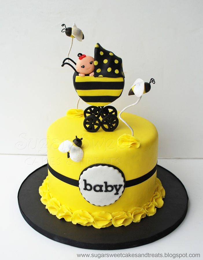 For A Bumble Bee Themed Baby Shower With Stroller And