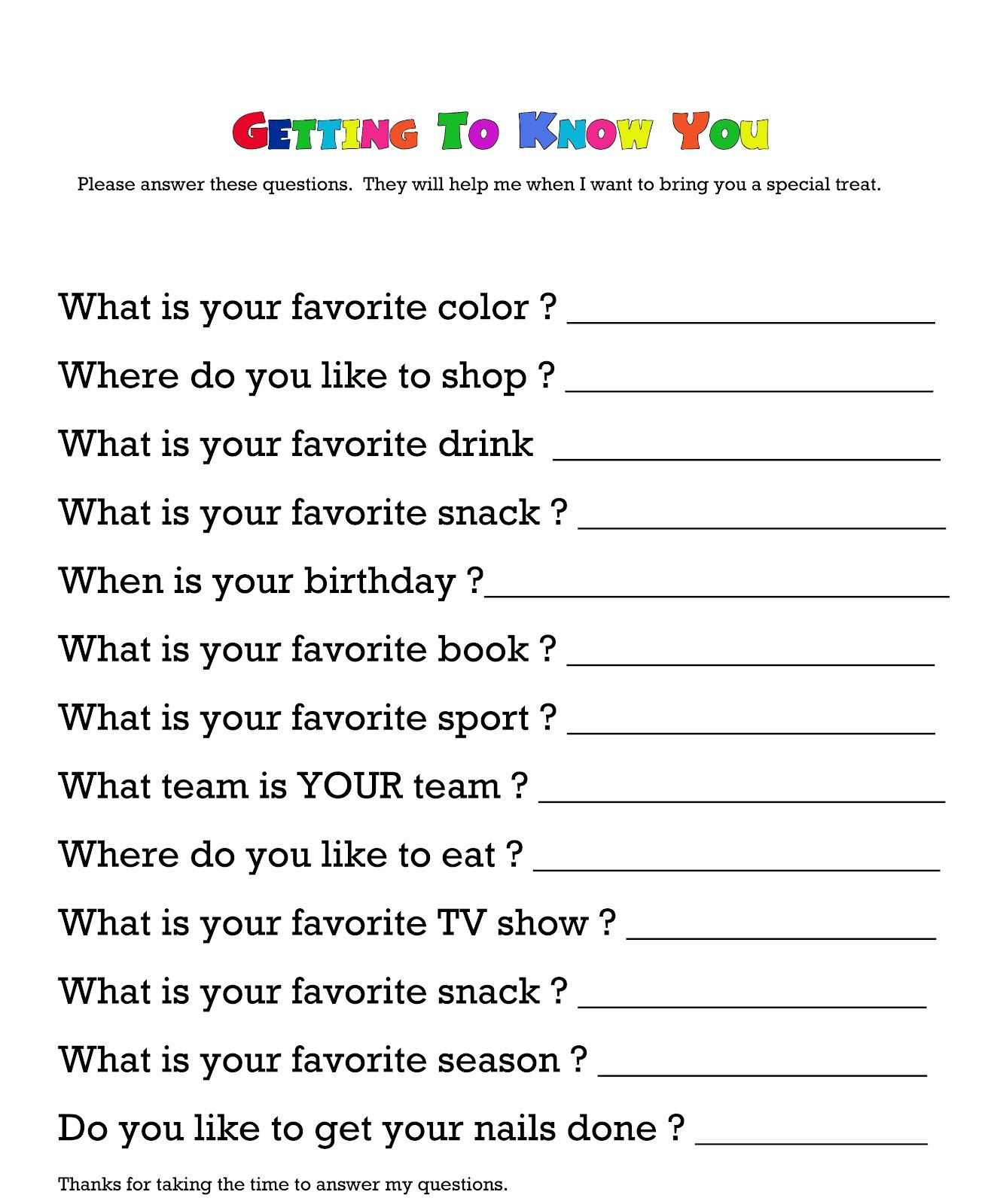 Questionnaire For Getting To Know Your Child S Teacher