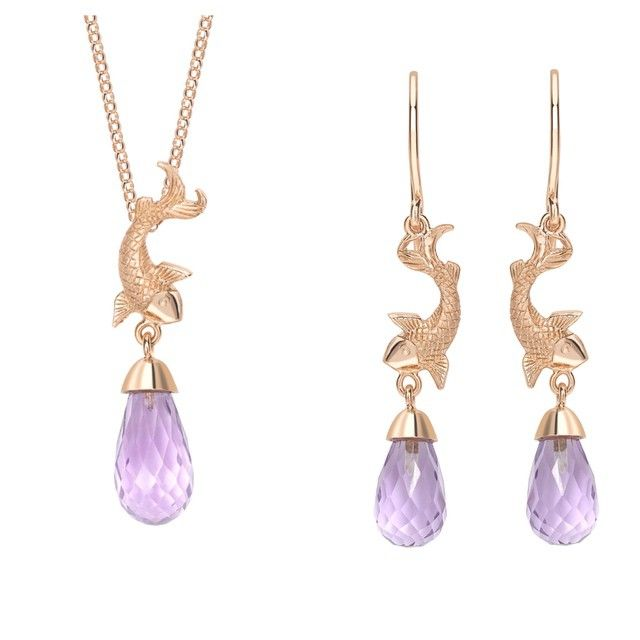 This Gorgeous Necklace And Earrings Feature Rose Gold Koi Fish