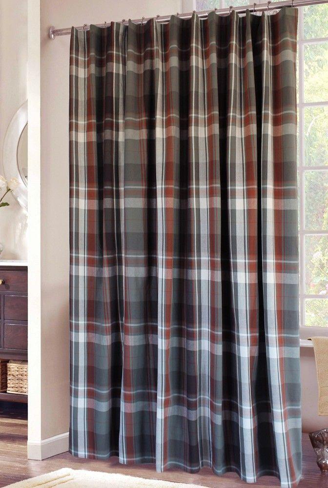 Grand Teton Plaid Fabric Shower Curtain Rustic Cabin Lodge Decor Bathroom Carstens Home