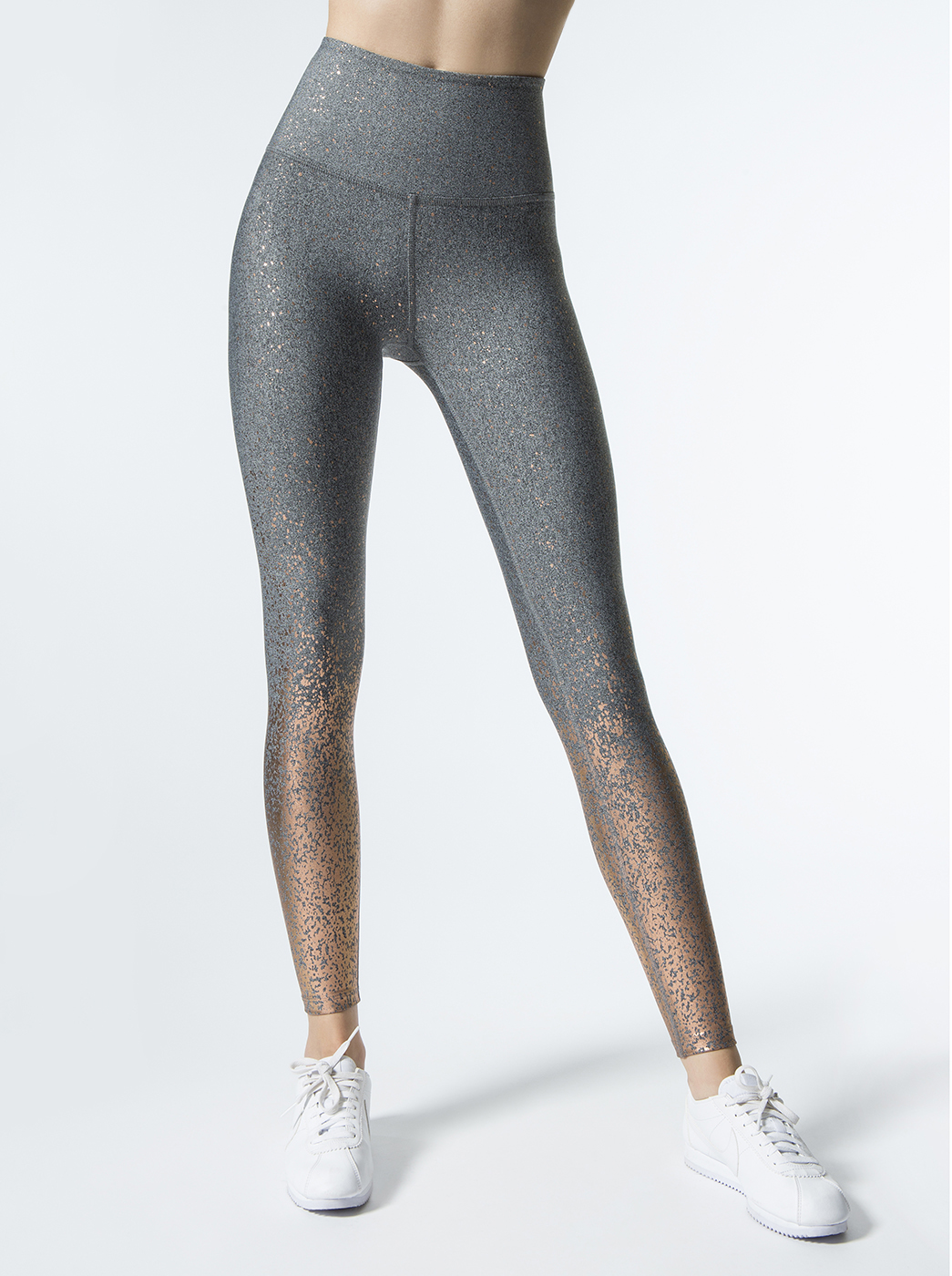 5118a2d6c8394 Alloy Ombre High Waisted Midi Leggings in Black-white Rose Gold Speckle by Beyond  Yoga from Carbon38