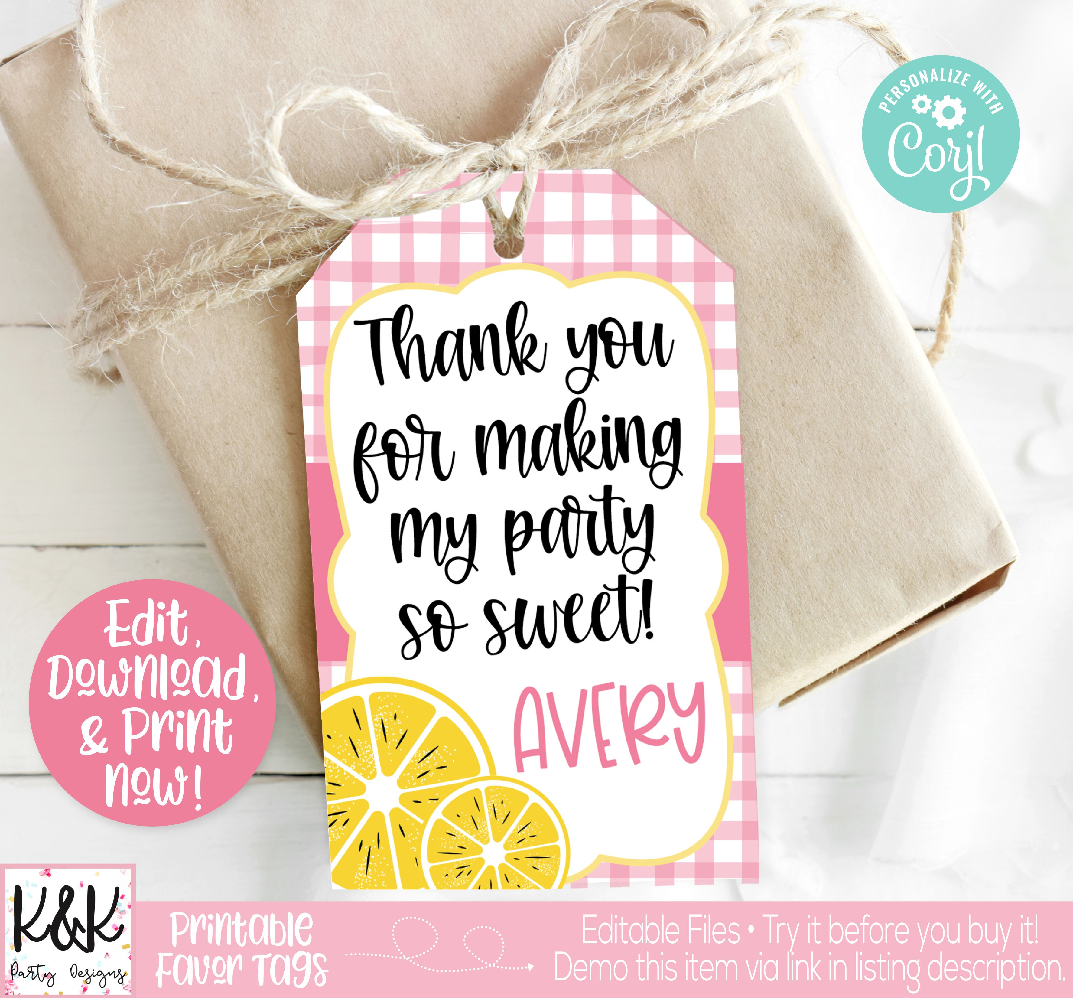 Pink Lemonade Birthday Party Favor Tag, Girls Birthday Party Idea, Pink Lemonade Party Printable, Pink Lemonade Birthday Party Decorations, Lemonade Stand Party  #PinkLemonade #Lemonadestand #BirthdayParty #Invitation #PartyIdeas #GirlsBirthday #1stBirthday #FirstBirthday #LemonadeParty #DIY #PartyTheme #PartyDecorations #BirthdayDecorations #Decorations