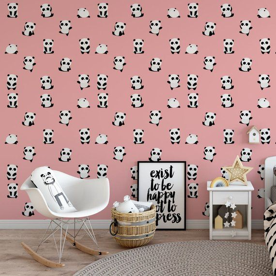 Pink Panda Removable Wallpaper Cute Self Adhesive Kids Temporary P125 27