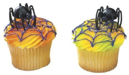 12 Plastic Hunchback Spider Cupcake or Cake Lay on Decoration -- Want additional info? Click on the image.