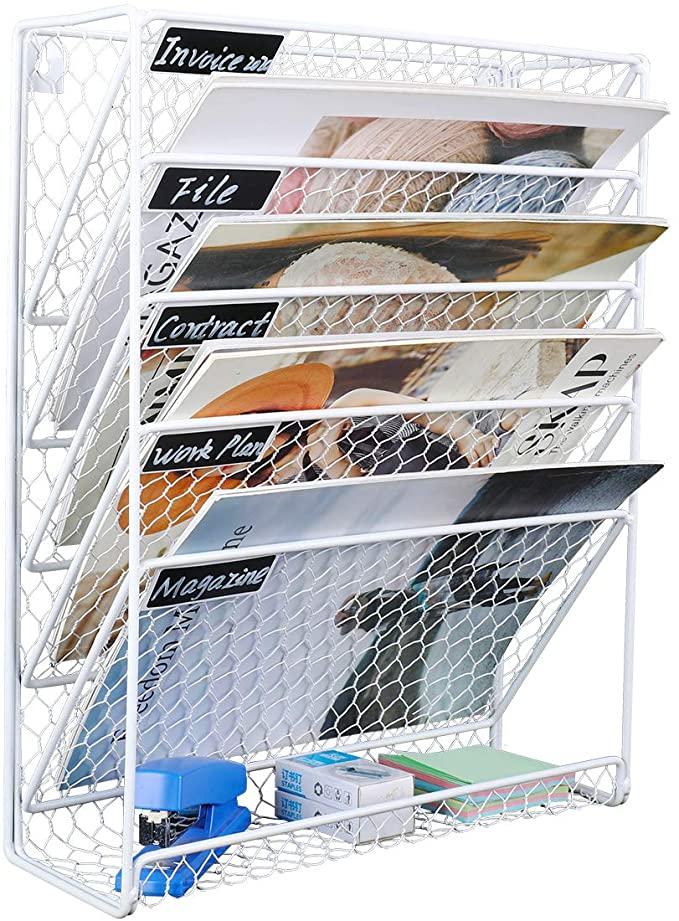 Amazon Com Pag Hanging File Holder Organizer Metal Chicken Wire Wall Mount Magazine Rack 6 Tier White Office In 2020 Metal Chicken Hanging Files Wall File Holder