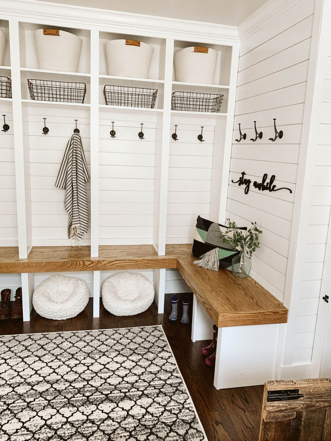 Modern Farmhouse Renovation Clark Aldine Mudroom Laundry Room Diy Mudroom Bench Mudroom Decor