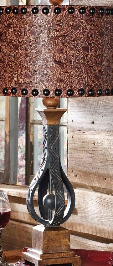 Tooled Leather Look Lamp Shade Western Rustic Cabin