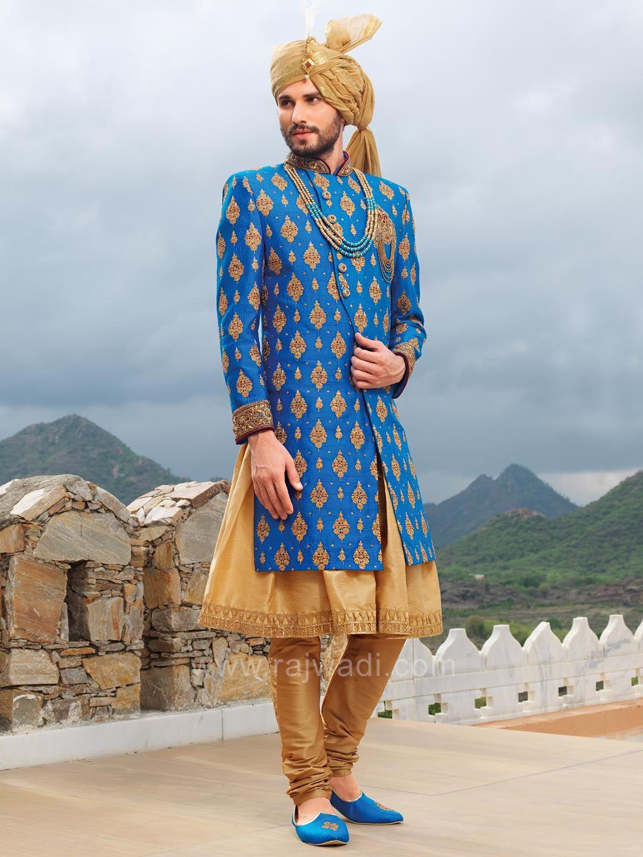 Blue Designer Long Koti With Golden Kurta and Bottom | Sherwanis ...