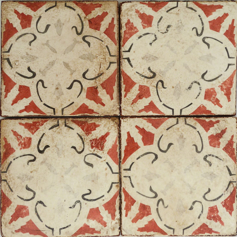 mediterranean tile #13 . paprika, charcoal & gray on off white ...