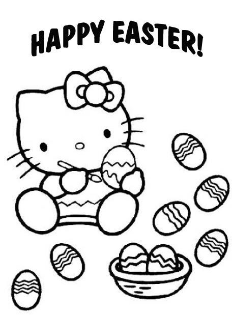 Easter Coloring Pages Eggs Sanrio Happy Hello Kitty Filing Templates Pdf