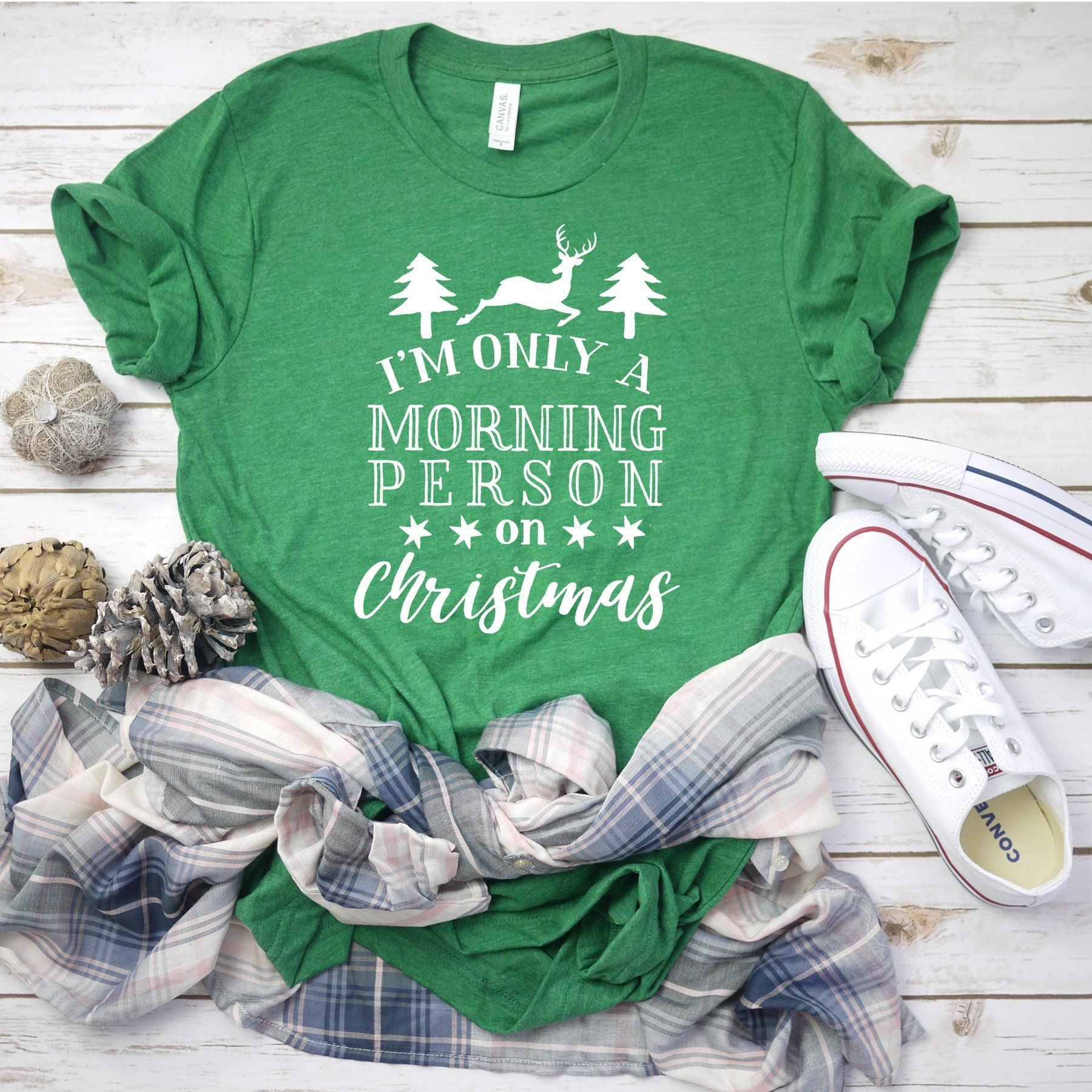 60fcd3399 Im Only a Morning Person on Christmas, Funny Christmas Shirts, December  25th Tee Christmas Tees for Women, Christmas Party Shirt, ...