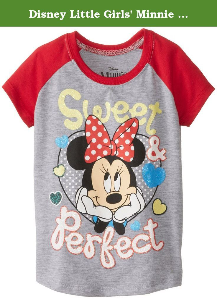 8d8504d0c Disney Little Girls' Minnie Mouse Sweet Perfect Girls Raglan T-Shirt,  Heather Grey/Red, 2T. Minnie mouse jersey color block baseball tee with  cover ...