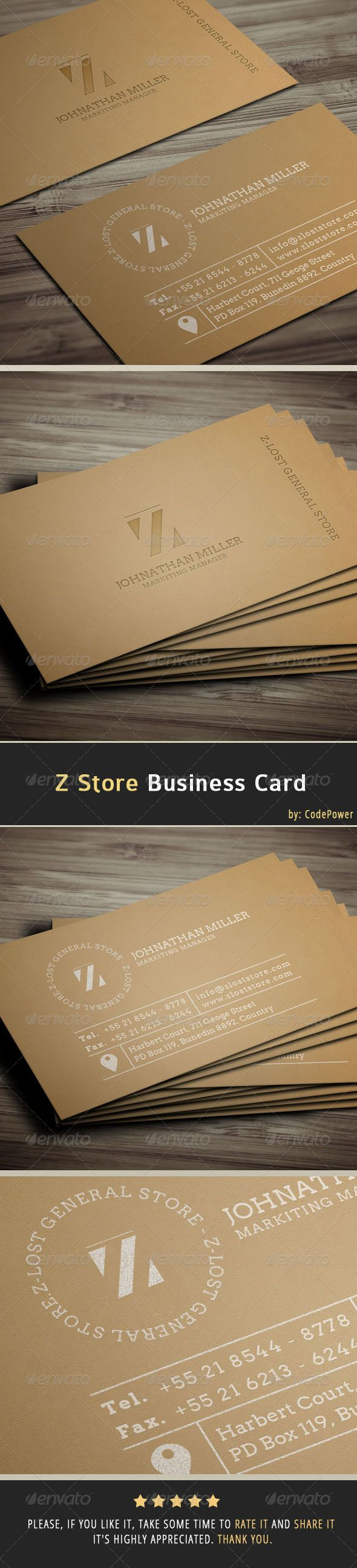 Z Store Business Card Business Card Photoshop Business Cards Creative Business Card Design Creative