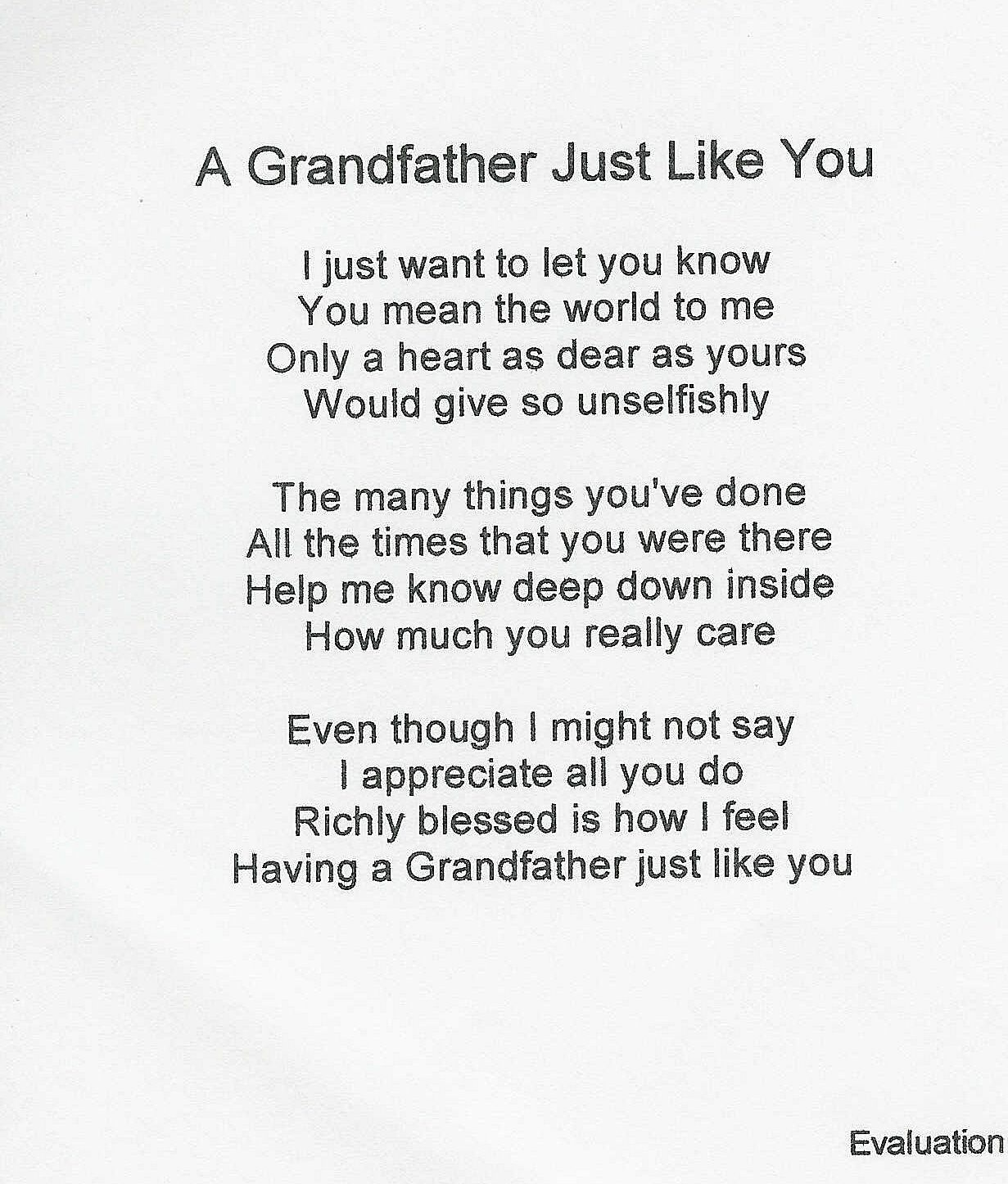 I Love My Grandpa Quotes Grandpa Poems From Granddaughter  Make Selection On Order Now