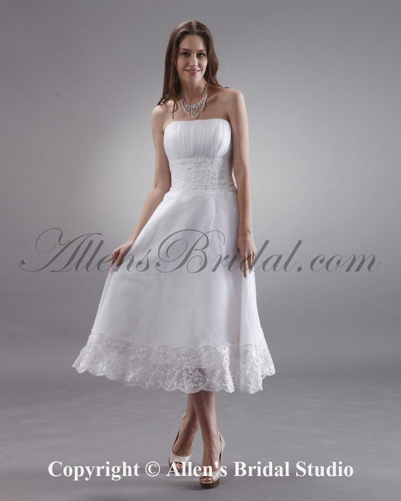 Chiffon Tea Length Wedding Dress
