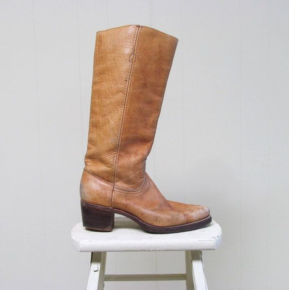 Vintage 1970s FRYE Boots / 70s Tan Leather by RanchQueenVintage, $145.00