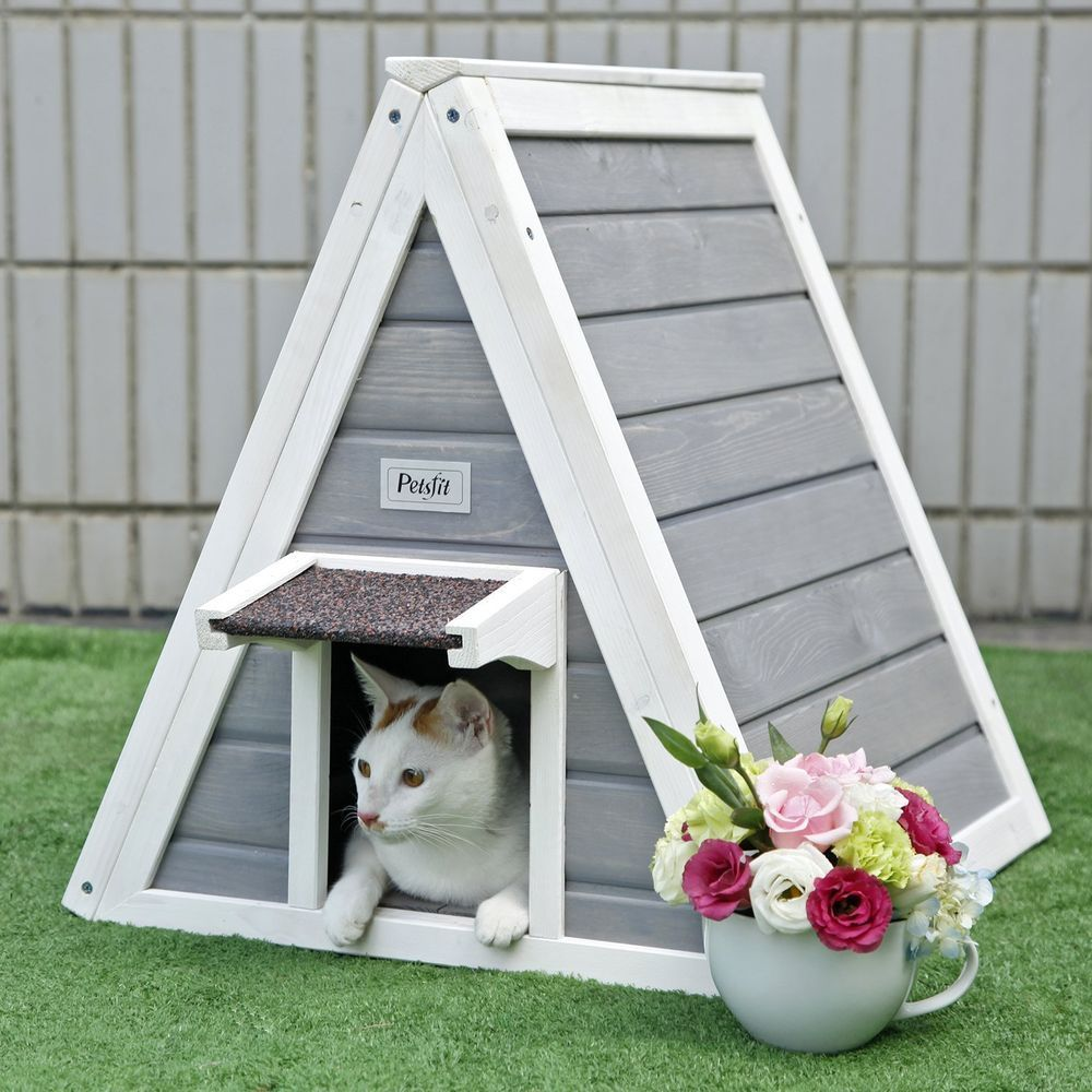 Cat House Outdoor Bed Wooden Houses Kennel Door Home