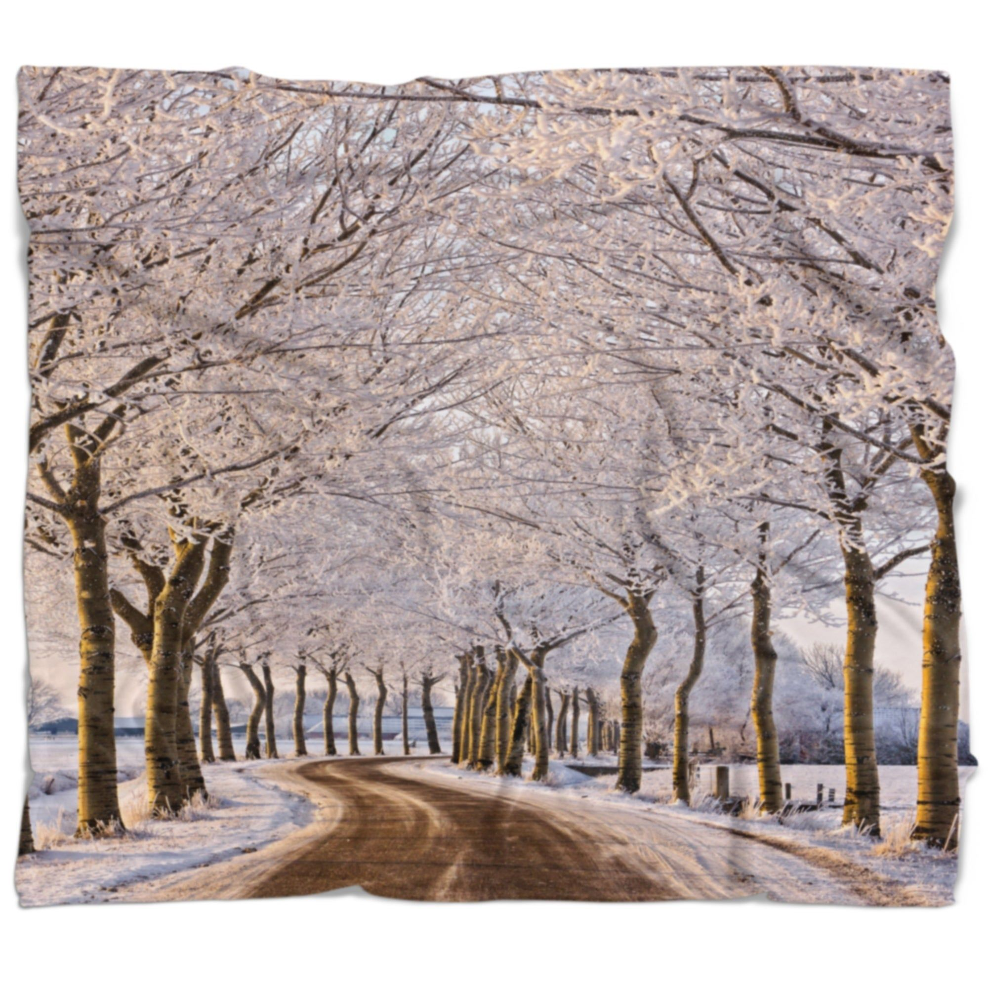 Designart 'Trees And Road in White Winter' Landscape Fleece Throw Blanket (71 in. x 59 in.), DESIGN ART #winterlandscape