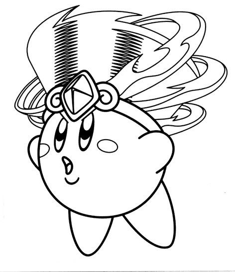 Kirby With Headdress Coloring Page Coloring Pages Kirby Free